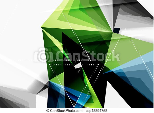 Vector low poly style 3d triangle line - csp48894758