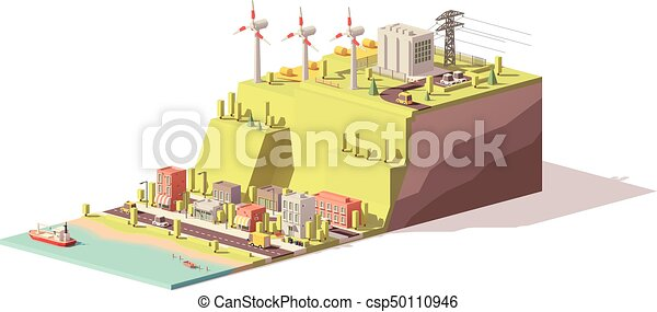 Vector low poly wind turbines power plant - csp50110946