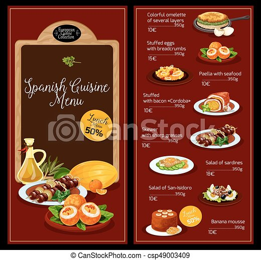 Vector Lunch Menu Template For Spanish Cuisine  Lunch Menu Template
