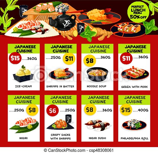 Lunch Menu Template | Vector Lunch Menu Templates For Japanese Cuisine Japanese Cuisine