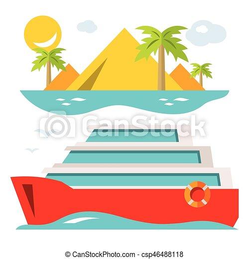 Vector Luxury Cruise Ship. Flat style colorful Cartoon illustration. - csp46488118