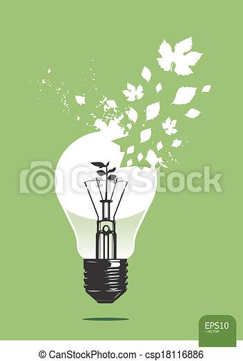 Luz ahorra vector de concepto de planta - csp18116886