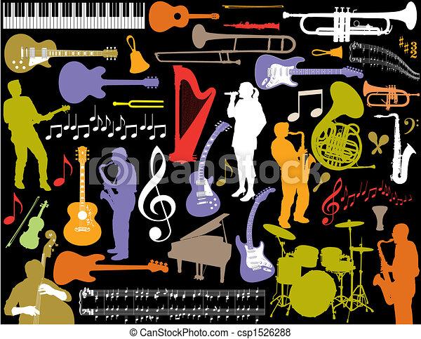 Los elementos musicales del vector. - csp1526288
