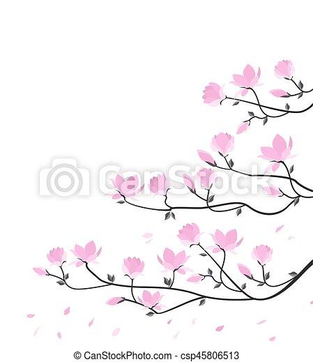 Vector Magnolia Flowers Vector Illustration Pink Flowers Spring