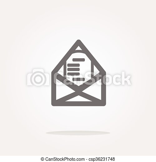 vector mail envelope icon web button isolated on white - csp36231748