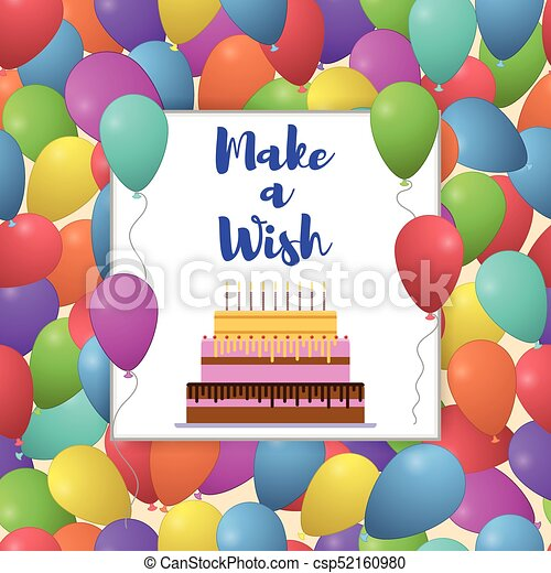 Vector make a wish lettering with colorful balloon vector vector make a wish lettering with colorful balloon background for birthday greeting card m4hsunfo