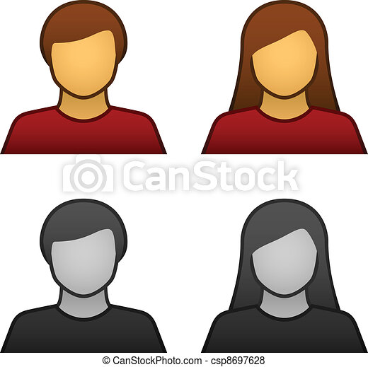 vector male female avatar icons - csp8697628