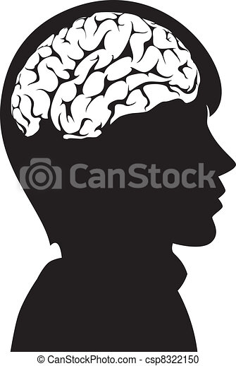 vector man with brain in his head - csp8322150