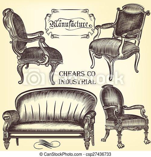 Un juego antiguo de chears dibujados a mano en estilo antiguo - csp27436733