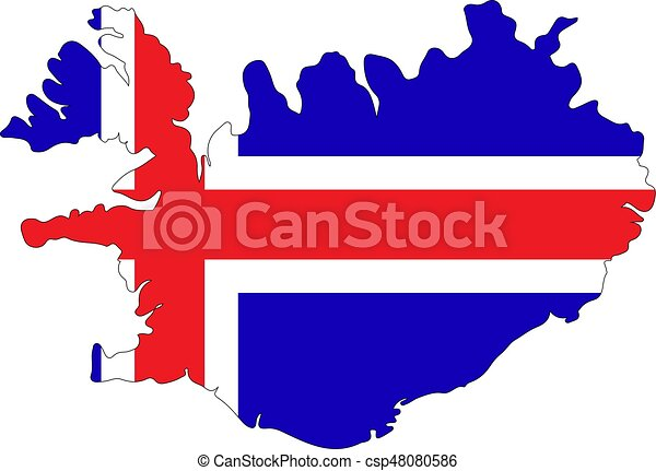 Vector map - iceland. Map and flag of iceland on a white background.