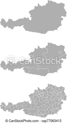 Vector map of Austria administrative regions and areas - csp77063413