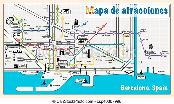 Vector map of barcelona. attractions on map. eps10.