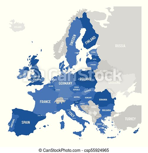 Vector map of eu, european union. Vector map of eu, european union.