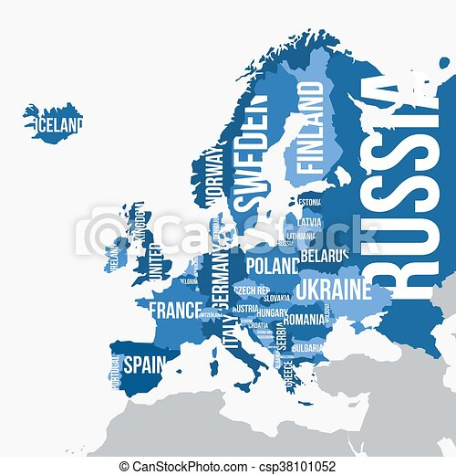 Vector map of Europe with borders and country names - csp38101052