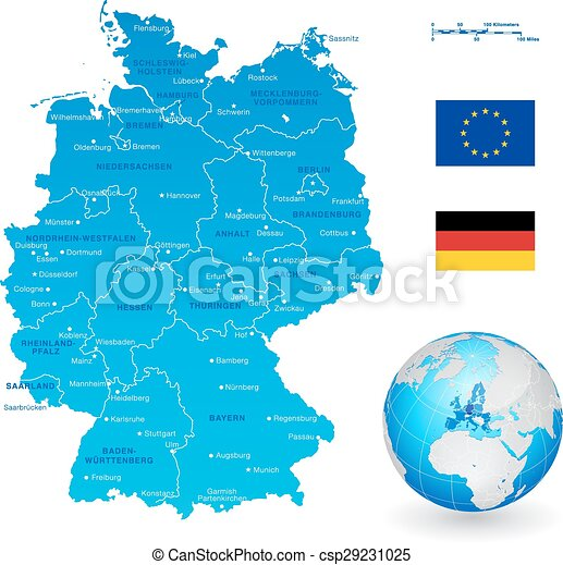 Map Of Germany With States.A High Detail Vector Map Of Germany States And Major Cities With A 3d