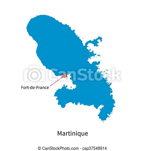 Capital Of France Map.Vector Map Of Martinique And Capital City Fort De France