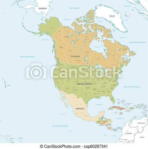 Vector map of north and central america continent with countries ...