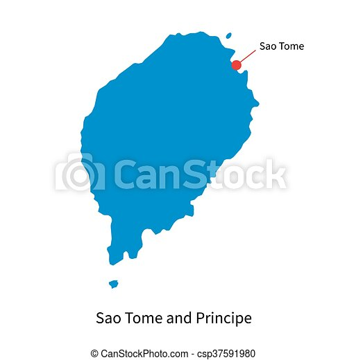 Vector Of Vector Map Of Sao Tome And Principe With Capital City - Sao tome and principe map