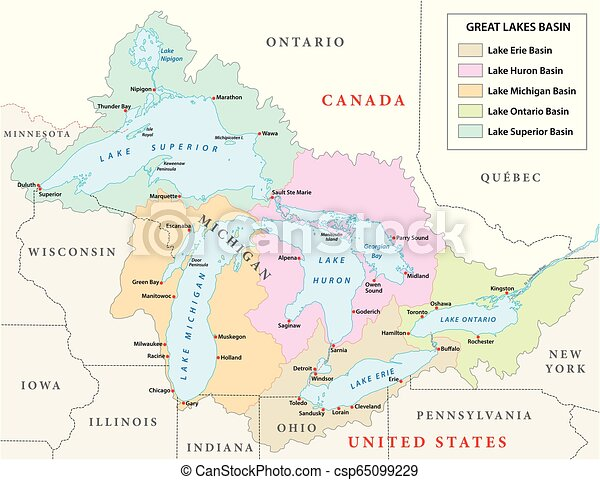 vector map of the Great Lakes Basin