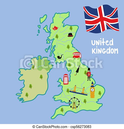 Big Map Of England.Vector Map Of Uk England Symbols