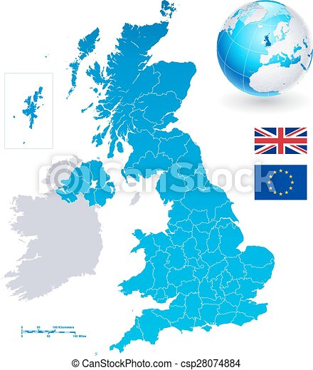 Map Of Major Uk Cities.Vector Map Set Of United Kingdom