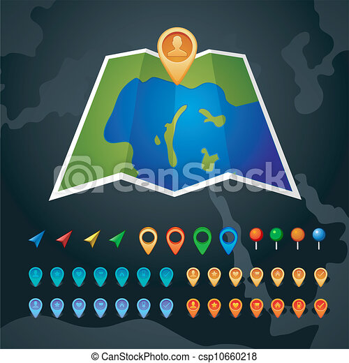 Vector map with GPS icons - csp10660218