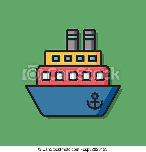 Icono vector de barco marino - csp32823123