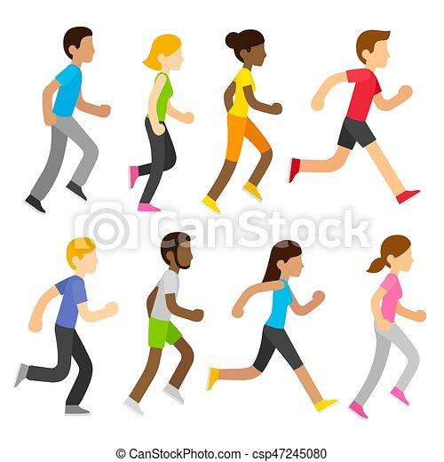 vector marathon runners group of diverse marathon runners vector rh canstockphoto com running clip art images running clipart