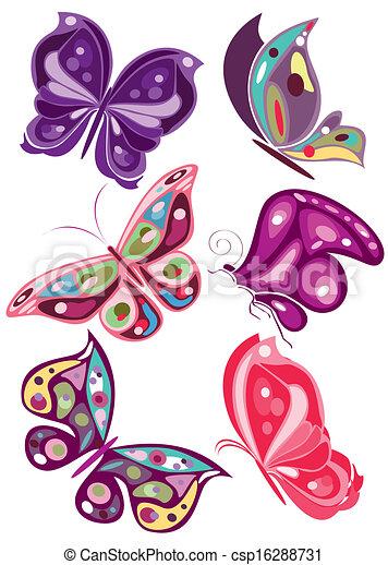 Vector Mariposas 2 Colores Archivo Eps Ilustracion