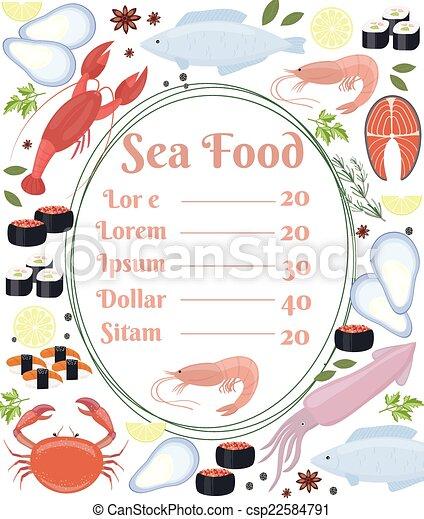 Cartel de vector colorido menú de mariscos - csp22584791