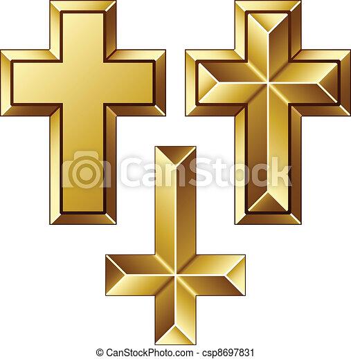vector massive golden christian crosses - csp8697831