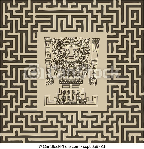 vector mayan and inca tribal symbols on maze - csp8659723