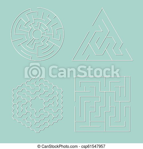 Vector Maze Puzzles Collection Isolated On Blue Background Abstract