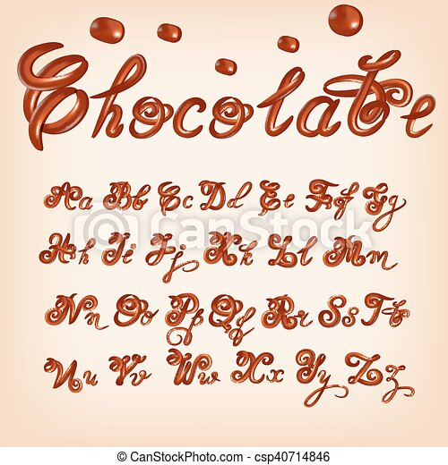 Melted chocolate alphabet over white background  lowercase