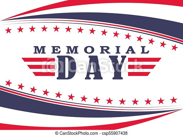 vector memorial day background with stars stripes and lettering