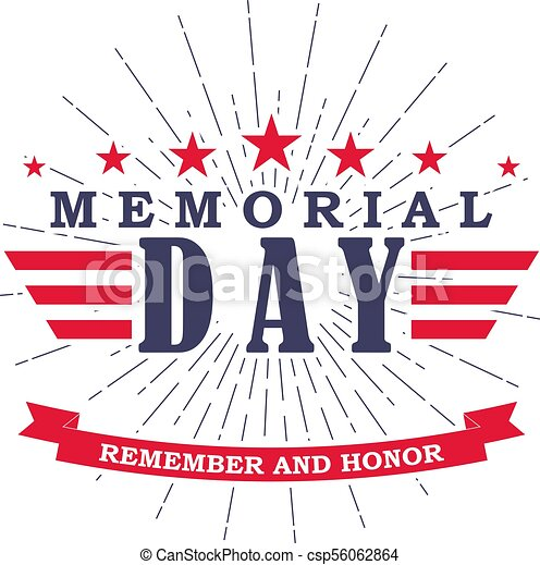 vector memorial day banner with stars stripes and ribbon template