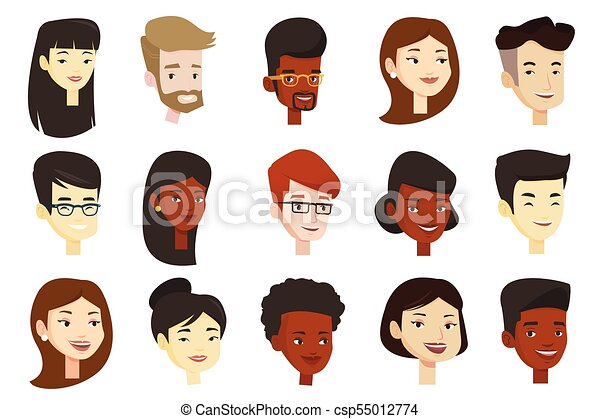 Vector conjunto de mujeres y hombres multiculturales. - csp55012774