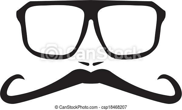 Vector men face with long mustache - csp18468207