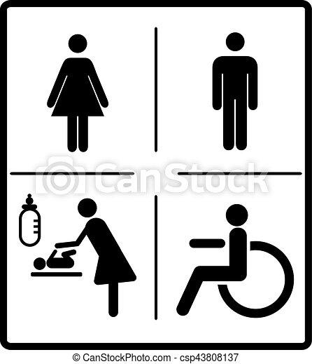 vector mens and womens disabled restroom signage set men rh canstockphoto com restroom symbol vector restroom symbol vector image free