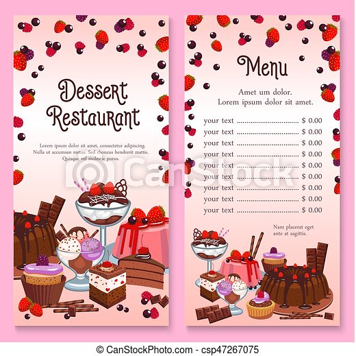 Vector Menu For Pastry Dessert Cakes And Cupcakes Pastry