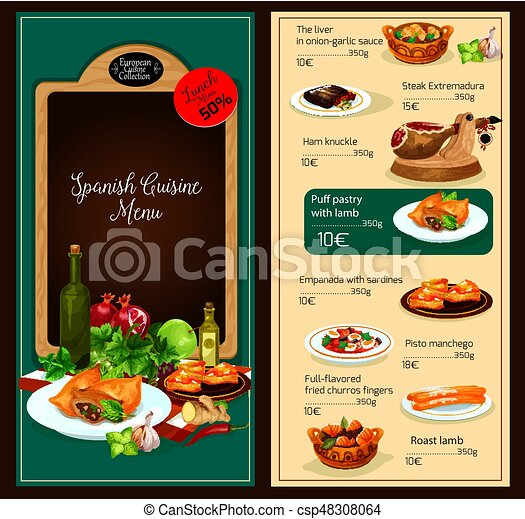 vector menu template of spanish cuisine restaurant spanish clip art vector search drawings. Black Bedroom Furniture Sets. Home Design Ideas