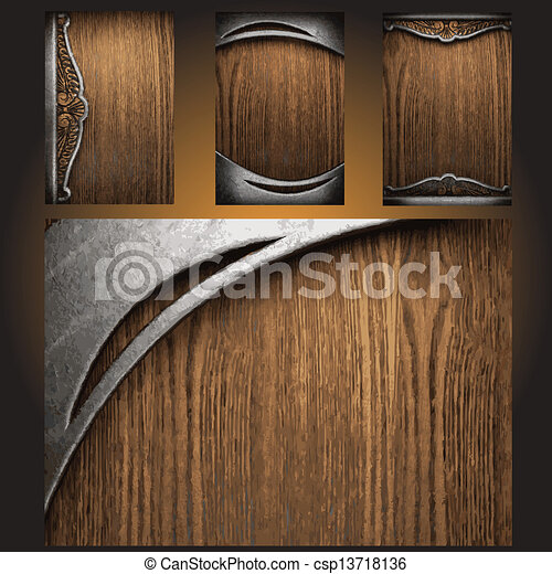 Metal And Wood Artwork Unique Vector Metal On Wood Background Set Vectors  Search Clip Art Design Decoration