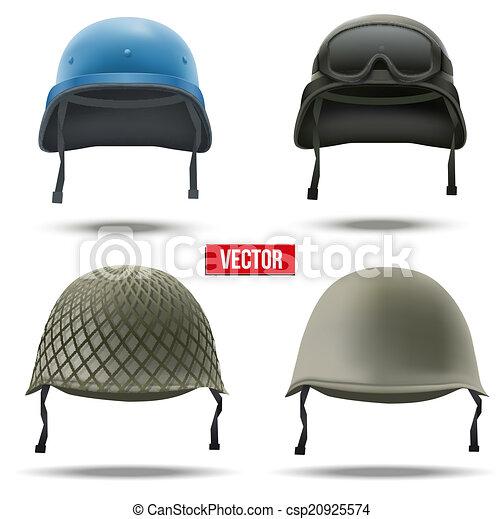 Un conjunto de cascos militares. Ilustración de vectores. - csp20925574