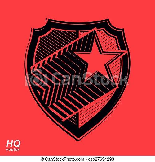Vector Military Shield With Pentagonal Comet Star Eps Vectors