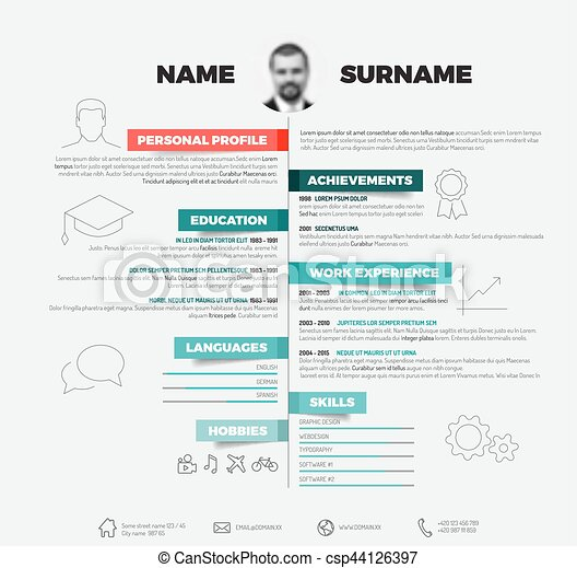 Vector minimalist cv / resume template with with red and teal labels ...
