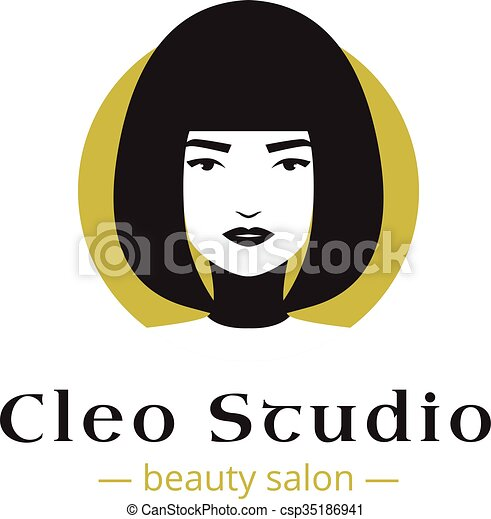 Vector minimalistic beauty studio logo in black and gold colors. Beautiful woman head logo. Spa salon logo template. - csp35186941