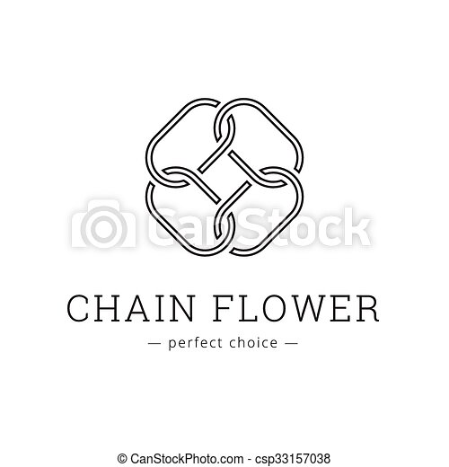 Vector Minimalistic Chain Flower Line Style Logo