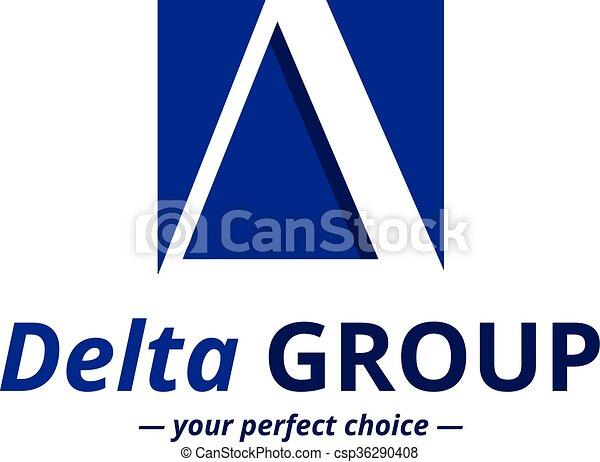 Vector Minimalistic Negative Space Greek Letter Logo Delta Letter