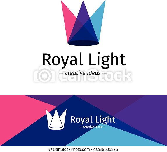 Vector Minimalistic Three Color Light Rays Logotype Minimalistic Crown Logo
