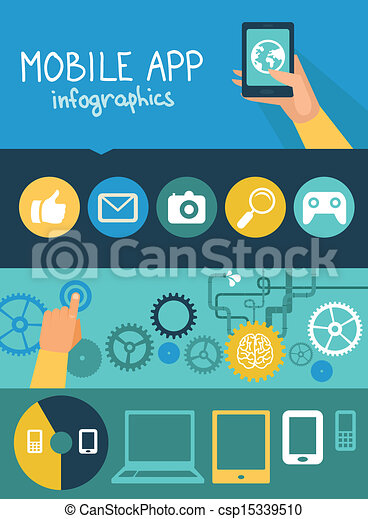 Vector mobile app infographics in flat style - csp15339510